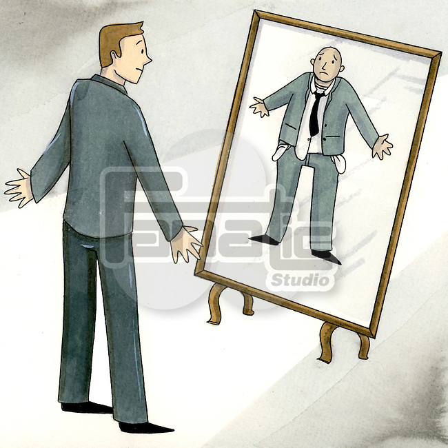 Business man watching a deceptive reflection in mirror