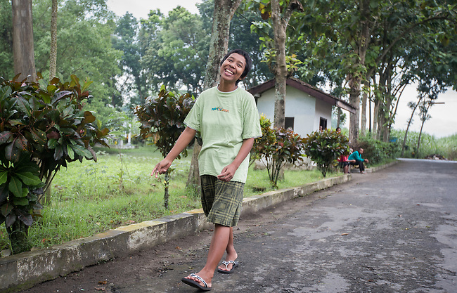 """5 April 2017, Surabaya,East Java,Indonesia: Fatima a 32 year old mental illness sufferer was released from her shackles at her family home and taken for treatment at at mental institution before being sent to Bina Laras Social Rehab Centre for her final stage of adjustment before being set back to her family. She had a long history of mental illness and it is hoped the E-Shackling program will make it possible for her to live in the community without being chained to a post.  """"E- Shackling""""  aims to free people suffering from mental illness, from the shackles that family often place them in to control them in the wake of a lack of treatment options and the program will treat them and enter them in a data base allowing them to be traced before releasing them back to their families. Some people stay chained to a stake or in rooms for years by their families and not all families are willing to take their sick family members back. Picture by Graham Crouch/The Australian"""