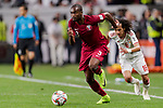 Abdelkarim Hassan of Qatar (L) fights for the ball with Mohamed Abdulrahman Alraqi of United Arab Emirates (R) during the AFC Asian Cup UAE 2019 Semi Finals match between Qatar (QAT) and United Arab Emirates (UAE) at Mohammed Bin Zaied Stadium  on 29 January 2019 in Abu Dhabi, United Arab Emirates. Photo by Marcio Rodrigo Machado / Power Sport Images