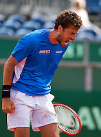 Netherlands, The Hague, Juli 26, 2015, Tennis,  Sport1 Open, Robin Haase (NED) screems it out<br /> Photo: Tennisimages/Henk Koster