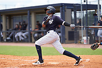 DUPLICATE***FCL Yankees Marcos Cabrera (50)***FCL Yankees Tyson Blaser (50) bats during a game against the FCL Tigers East on July 27, 2021 at the Yankees Minor League Complex in Tampa, Florida. (Mike Janes/Four Seam Images)