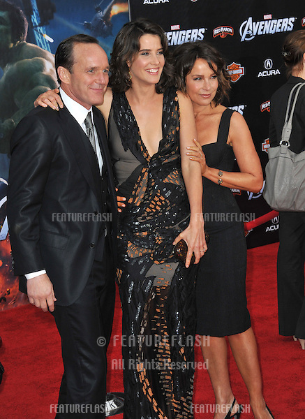 """Cobie Smulders with Clark Gregg & Jennifer Grey (right) at the world premiere of their new movie """"Marvel's The Avengers"""" at the El Capitan Theatre, Hollywood..April 11, 2012  Los Angeles, CA.Picture: Paul Smith / Featureflash"""