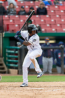 Kane County Cougars left fielder Tra Holmes (3) during a Midwest League game against the Cedar Rapids Kernels at Northwestern Medicine Field on April 28, 2019 in Geneva, Illinois. Kane County defeated Cedar Rapids 3-2 in game one of a doubleheader. (Zachary Lucy/Four Seam Images)