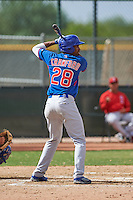 Chicago Cubs Rashad Crawford (28) during an instructional league game against the Texas Rangers on October 5, 2015 at the Surprise Stadium Training Complex in Surprise, Arizona.  (Mike Janes/Four Seam Images)