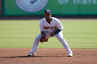 Charleston RiverDogs first baseman Alexander Ovalles (26) on defense against the Augusta GreenJackets at Joseph P. Riley, Jr. Park on June 27, 2021 in Charleston, South Carolina. (Brian Westerholt/Four Seam Images)