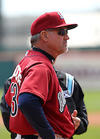 Lehigh Valley IronPigs manager Ryne Sandberg #23 goes over ground rules before a game against the Buffalo Bisons at Coca-Cola Field on April 19, 2012 in Buffalo, New York.  Lehigh Valley defeated Buffalo 8-4.  (Mike Janes/Four Seam Images)