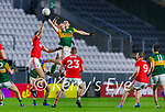 Jason Foley, Kerry and David Moran, Kerry in action against Kevin O' Driscoll, Cork, during the Munster GAA Football Senior Championship Semi-Final match between Cork and Kerry at Páirc Uí Chaoimh in Cork.