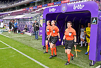 assistant referee Joline Delcroix , referee Viki De Cremer and assistant referee Ella De Vries<br />  pictured during a female soccer game between RSC Anderlecht Dames and Sporting Charleroi  on the second matchday of the 2021 - 2022 season of Belgian Womens Super League , saturday 28 th of August 2021  in Brussels , Belgium . PHOTO SPORTPIX   DAVID CATRY