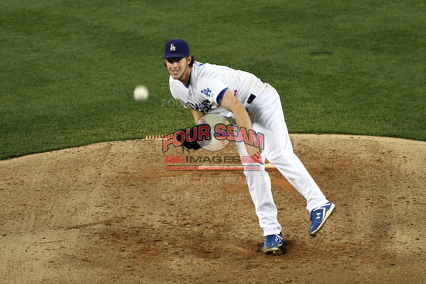 Los Angeles Dodgers pitcher Clayton Kershaw #22 pitches against the San Francisco Giants at Dodger Stadium on September 20, 2011 in Los Angeles,California. Los Angeles defeated San Francisco 2-1.(Larry Goren/Four Seam Images)