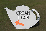 Village fete teapot sign for traditional Cream Teas. Yapton West Sussex. UK 2008.