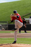 Cedar Rapids Kernels starting pitcher Cody Laweryson (20) on the mound during a game against the Wisconsin Timber Rattlers on September 8, 2021 at Neuroscience Group Field at Fox Cities Stadium in Grand Chute, Wisconsin.  (Brad Krause/Four Seam Images)