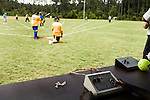 July 25, 2008. Durham, NC.. Started over 30 years ago, Beep Ball is baseball for the visually impaired. Played with an oversized softball that beeps, and bases that also make sound, the game has allowed people with varying degrees of visual impairment to participate in a team sport. All players are required to wear blacked out masks, to equalize the impairment and if the fielding team gets control of the ball before the hitting player reaches the base, an out is recorded. If the hitting player reaches the base first, a run is scored. There are only 2 bases, one to the left and one to the right, and the hitting player hears a tone after the hit is made, to add to the difficulty, telling them which base to run to.. A sighted member of each team controls the base sounds and waits for a signal from the independent umpire as to which base to turn on for the hitter to run to.