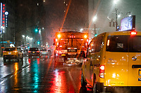 NEW YORK, NEW YORK - JANUARY 31: A truck trows salt to control snow during the pass of the snowstorm on January 31, 2021 in New York City. New York City Mayor Bill de Blasio declared a state of emergency order due to the arriving storm that's expected to wallop New York, where airports are expected to cancel the majority if their flights. (Photo by Eduardo MunozAlvarez/VIEWpress)