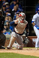 Cleveland Indians catcher Roberto Perez Perez (55) in the second inning during Game 5 of the Major League Baseball World Series against the Chicago Cubs on October 30, 2016 at Wrigley Field in Chicago, Illinois.  (Mike Janes/Four Seam Images)
