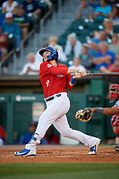 Buffalo Bisons designated hitter Danny Jansen (9) hits a home run during a game against the Syracuse Chiefs on July 6, 2018 at Coca-Cola Field in Buffalo, New York.  Buffalo defeated Syracuse 6-4.  (Mike Janes/Four Seam Images)