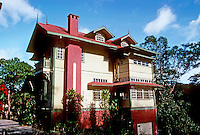 Philippines: Baguio--Old house, side view. Photo '82.