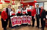 Calgary, Alta.---31/3/2014---CIBC staff welcome Paralympic athletes Lt:-rt: Kurt Oatway, Michelle Salt, Alana Ramsay, Alexandra Starker. Photo: The Canadian Press Images/Larry MacDougal