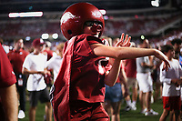 An Arkansas fan reacts, Saturday, September 11, 2021 during a football game at Reynolds Razorback Stadium in Fayetteville. Check out nwaonline.com/210912Daily/ for today's photo gallery. <br /> (NWA Democrat-Gazette/Charlie Kaijo)
