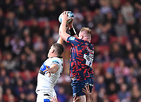 1st October 2021;  Ashton Gate Stadium, Bristol, South Gloucestershire, England; Gallagher Premier League rugby, Bristol Bears versus Bath Rugby: Joe Joyce of Bristol Bears wins the lineout ball under pressure from Charlie Ewels of Bath