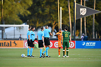 LAKE BUENA VISTA, FL - JULY 18: Óscar Boniek García #27 of the Houston Dynamo and Diego Valeri #8 of the Portland Timbers meet for the coin toss with the referees during a game between Houston Dynamo and Portland Timbers at ESPN Wide World of Sports on July 18, 2020 in Lake Buena Vista, Florida.