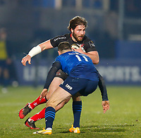 8th January 2021; RDS Arena, Dublin, Leinster, Ireland; Guinness Pro 14 Rugby, Leinster versus Ulster; John Andrew of Ulster tries to get past Dave Kearney of Leinster