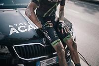 'dirty' Zak Dempster (AUS/Israel Cycling Academy) after finishing<br /> <br /> 92nd Schaal Sels 2017 <br /> 1 Day Race: Merksem > Merksem (188km)