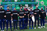 BELFAST, NORTHERN IRELAND - MARCH 28: USMNT bench before a game during a game between Northern Ireland and USMNT at Windsor Park on March 28, 2021 in Belfast, Northern Ireland.