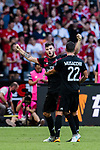 AC Milan Forward Patrick Cutrone (L) celebrating his goal with his teammate AC Milan Midfielder Mateo Musacchio (R) during the 2017 International Champions Cup China  match between FC Bayern and AC Milan at Universiade Sports Centre Stadium on July 22, 2017 in Shenzhen, China. Photo by Marcio Rodrigo Machado / Power Sport Images