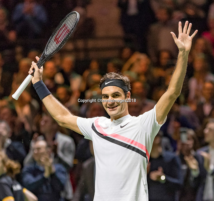 Rotterdam, The Netherlands, 18 Februari, 2018, ABNAMRO World Tennis Tournament, Ahoy, Singles final, Roger Federer (SUI) jubilates, he wins the 45th ABNAMROWTT.<br /> <br /> Photo: www.tennisimages.com