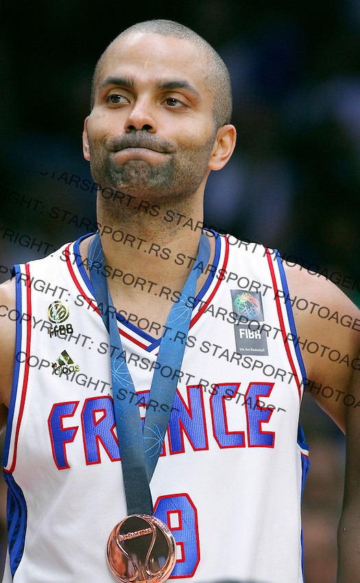 France's Tony Parker after European championship basketball match for third place between France and Serbia on September 20, 2015 in Lille, France  (credit image & photo: Pedja Milosavljevic / STARSPORT)