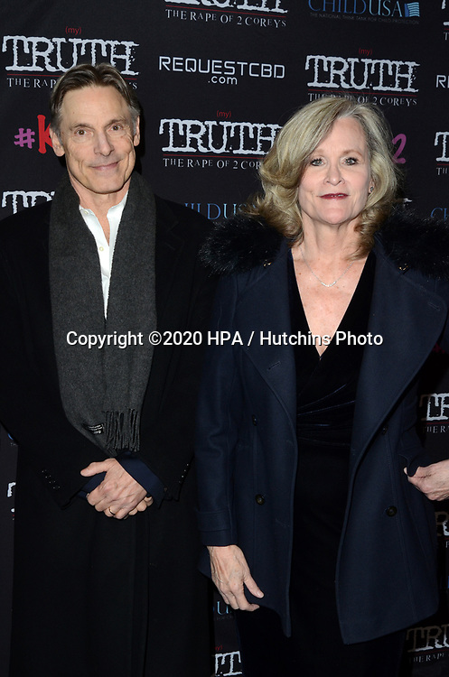 """LOS ANGELES - MAR 9:  Nicholas Guest, Pamela Guest at the """"(My) Truth: The Rape of 2 Coreys"""" L.A. Premiere at the DGA Theater on March 9, 2020 in Los Angeles, CA"""