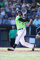 Dan Swain (5) of the Hillsboro Hops bats against the Spokane Indians at Ron Tonkin Field on July 23, 2017 in Hillsboro, Oregon. Spokane defeated Hillsboro, 5-3. (Larry Goren/Four Seam Images)