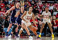 COLLEGE PARK, MD - JANUARY 26: Abi Scheid #44 and Abbie Wolf #21 of Northwestern defend against Stephanie Jones #24 of Maryland during a game between Northwestern and Maryland at Xfinity Center on January 26, 2020 in College Park, Maryland.