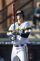 Michigan Wolverines third baseman Jake Bivens (18) at bat against the Central Michigan Chippewas on March 29, 2016 at Ray Fisher Stadium in Ann Arbor, Michigan. Michigan defeated Central Michigan 9-7. (Andrew Woolley/Four Seam Images)