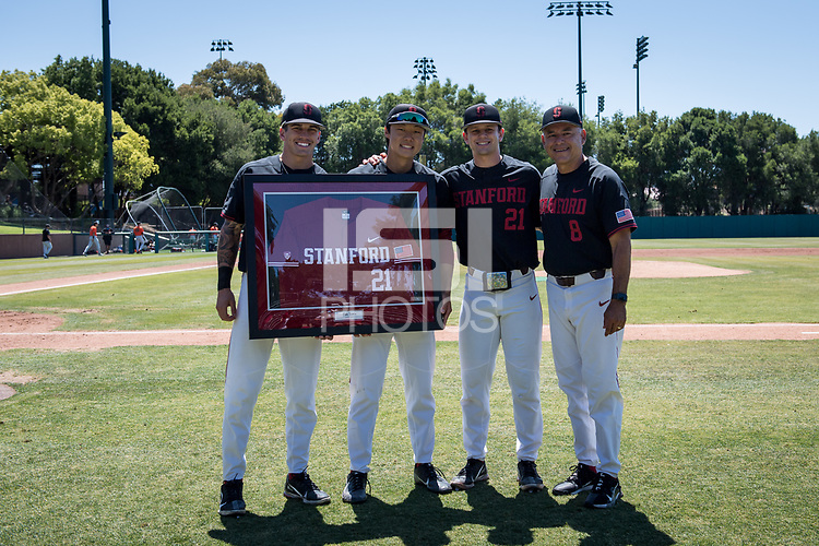 STANFORD, CA - MAY 29: Tim Tawa, David Esquer, Brock Jones, Eddie Park before a game between Oregon State University and Stanford Baseball at Sunken Diamond on May 29, 2021 in Stanford, California.