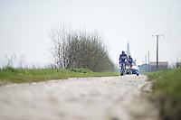 James Vanlandschoot (BEL/Wanty-Groupe Gobert) & teammates over the cobbles of the Orchies sector<br /> <br /> 2015 Paris-Roubaix recon