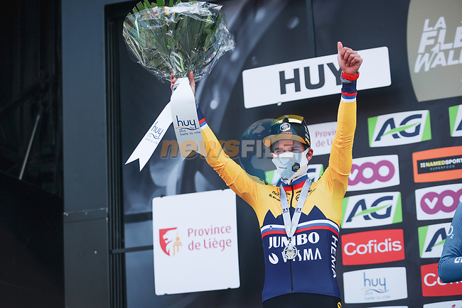 Slovenian Champion Primoz Roglic (SLO) Jumbo-Visma finishes in 2nd place at the end of the 2021 Flèche-Wallonne, running 193.6km from Charleroi to Huy, Belgium. 21st April 2021.  <br /> Picture: A.S.O./Aurélien Vialatte   Cyclefile<br /> <br /> All photos usage must carry mandatory copyright credit (© Cyclefile   A.S.O./Aurélien Vialatte)