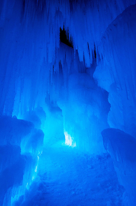 A riot of color awaits nighttime visitors to the ice castle at Loon Mountain.