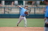 Tampa Bay Rays shortstop Matt Duffy (5) throws to first base for the out while on rehab assignment during an Instructional League game against the Baltimore Orioles on October 2, 2017 at Ed Smith Stadium in Sarasota, Florida.  (Mike Janes/Four Seam Images)