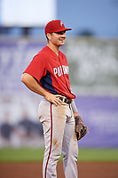 Potomac Nationals third baseman Jake Noll (13) during the first game of a doubleheader against the Salem Red Sox on June 11, 2018 at Haley Toyota Field in Salem, Virginia.  Potomac defeated Salem 9-4.  (Mike Janes/Four Seam Images)