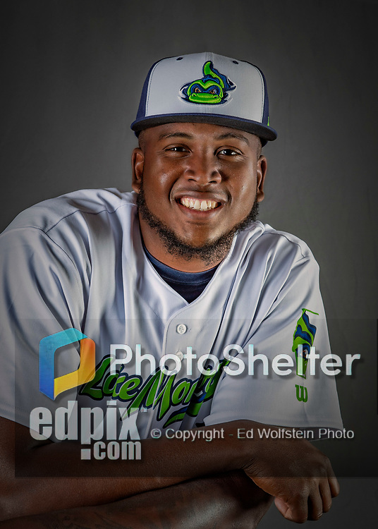 11 June 2019: Vermont Lake Monsters pitcher Jeferson Mejia poses for a portrait on Photo Day at Centennial Field in Burlington, Vermont. The Lake Monsters are the Single-A minor league affiliate of the Oakland Athletics and play a short season in the NY Penn League Stedler Division. Mandatory Credit: Ed Wolfstein Photo *** RAW (NEF) Image File Available ***
