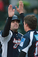 23 October 2010: Vincent Ferreira of Savigny celebrates during Savigny 8-7 win (in 12 innings) over Rouen, during game 3 of the French championship finals, in Rouen, France.