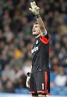 Real Madrid's Iker Casillas gestures during La Liga match. December 16, 2012. (ALTERPHOTOS/Alvaro Hernandez)