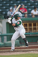 Fort Wayne TinCaps first baseman Ty France (25) at bat against the West Michigan Whitecaps on May 23, 2016 at Parkview Field in Fort Wayne, Indiana. The TinCaps defeated the Whitecaps 3-0. (Andrew Woolley/Four Seam Images)