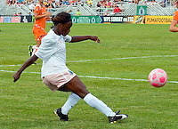St Louis Athletica forward Enoila Aluko (9) takes a shot against Sky Blue FC during a WPS match at Anheuser-Busch Soccer Park, in St. Louis, MO, June 7, 2009. Athletica won the match 1-0.