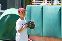 26 April 2008: Stanford Cardinal Matt Klein warms up for the ceremonial first pitch during Stanford's 26-5 win against the USC Trojans at Sunken Diamond in Stanford, CA.