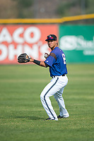Missoula Osprey infielder Brandon Leyton (12) warms up before a Pioneer League game against the Orem Owlz at Ogren Park Allegiance Field on August 19, 2018 in Missoula, Montana. The Missoula Osprey defeated the Orem Owlz by a score of 8-0. (Zachary Lucy/Four Seam Images)