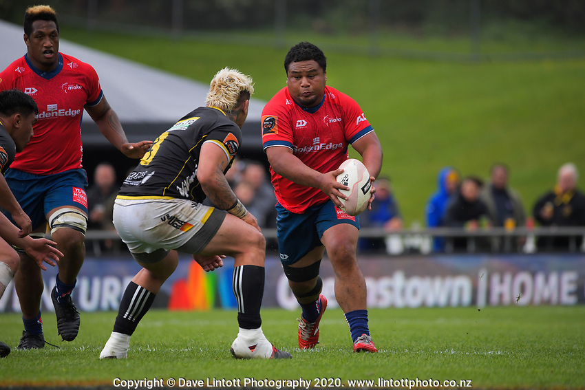 Andrew Makalio in action during the Mitre 10 Cup rugby match between Wellington Lions and Tasman Makos at Jerry Collins Stadium in Wellington, New Zealand on Saturday, 31 October 2020. Photo: Dave Lintott / lintottphoto.co.nz
