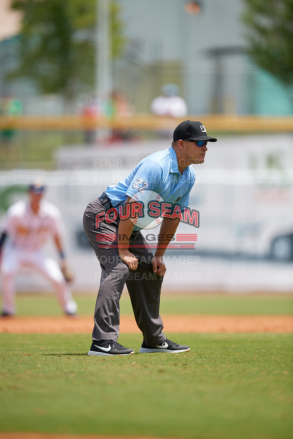 Umpire Robert Nunez during a Southern League game between the Mobile BayBears and Montgomery Biscuits on May 2, 2019 at Riverwalk Stadium in Montgomery, Alabama.  Mobile defeated Montgomery 3-1.  (Mike Janes/Four Seam Images)