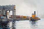 "A working tugboat from the Long Island Railroad waiting for the next car barge to ferry across the East River in New York City. Oil on canvas, 12"" x 18""."